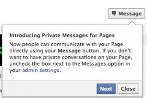 Message privé pour page Fan Facebook