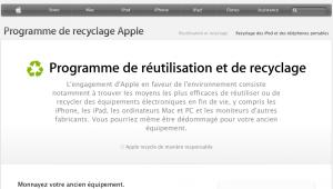 Recyclage équipement Apple