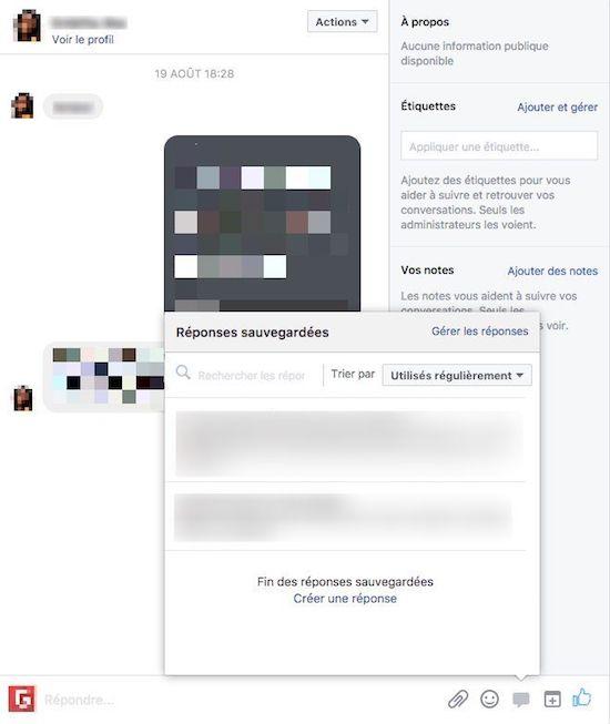 Réponse automatique service client facebook