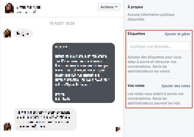 Notes et étiquettes dans la messagerie Facebook