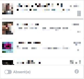 Statut absent page facebook