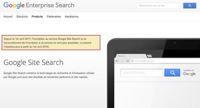fin de google site search