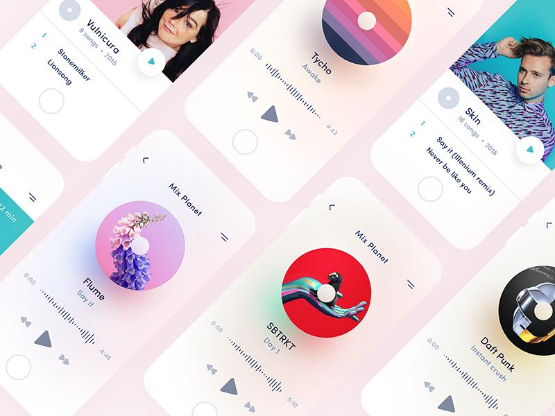 design d'application de musique