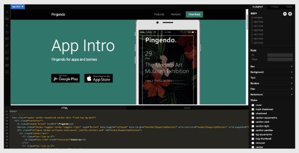 Création de prototypes HTML / Bootstrap avec Pingendo