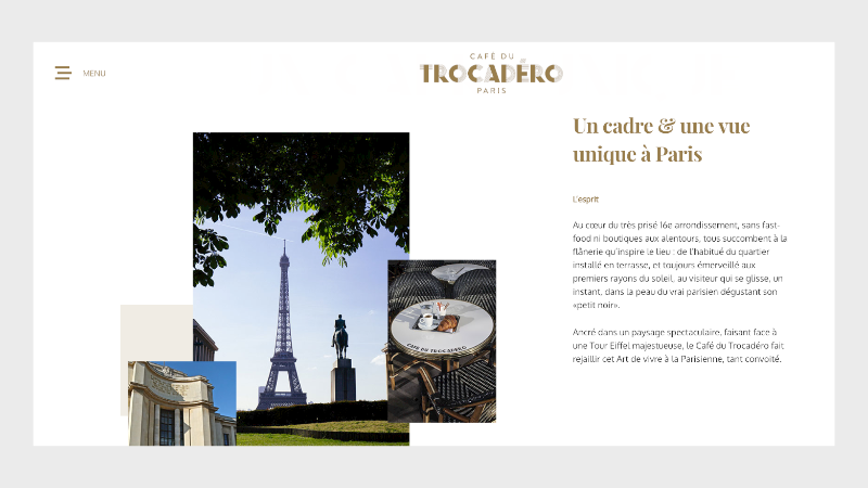 site one-page du Café du Trocadéro