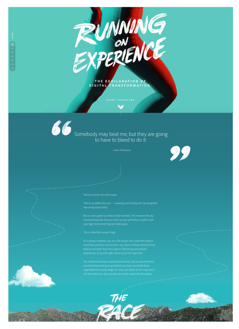 site experience one-page Adobe