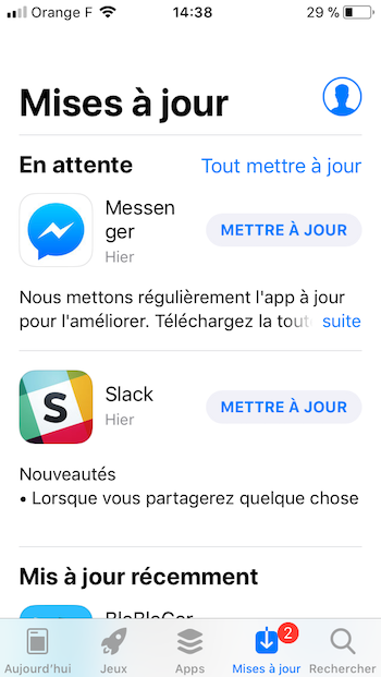 mise à jour d'une application mobile