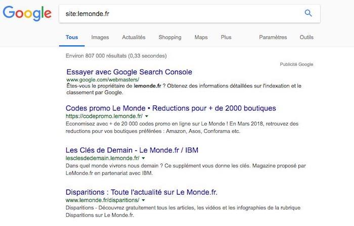 opérateur recherche google
