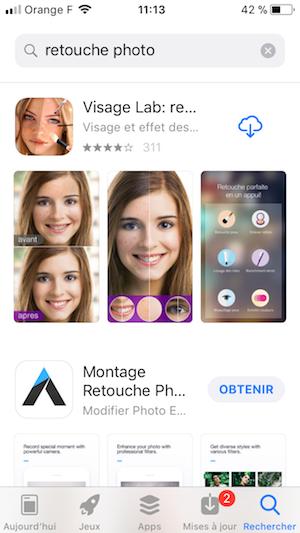 résultat de recherche sur l'app store