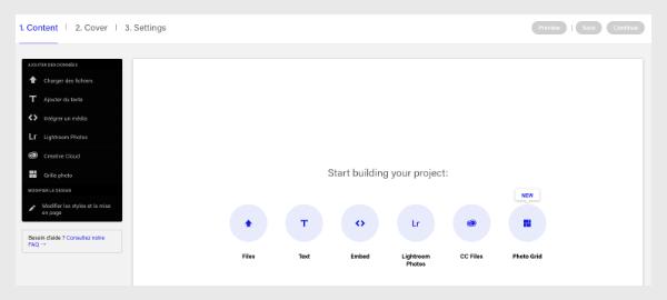 Créer son projet sur Behance