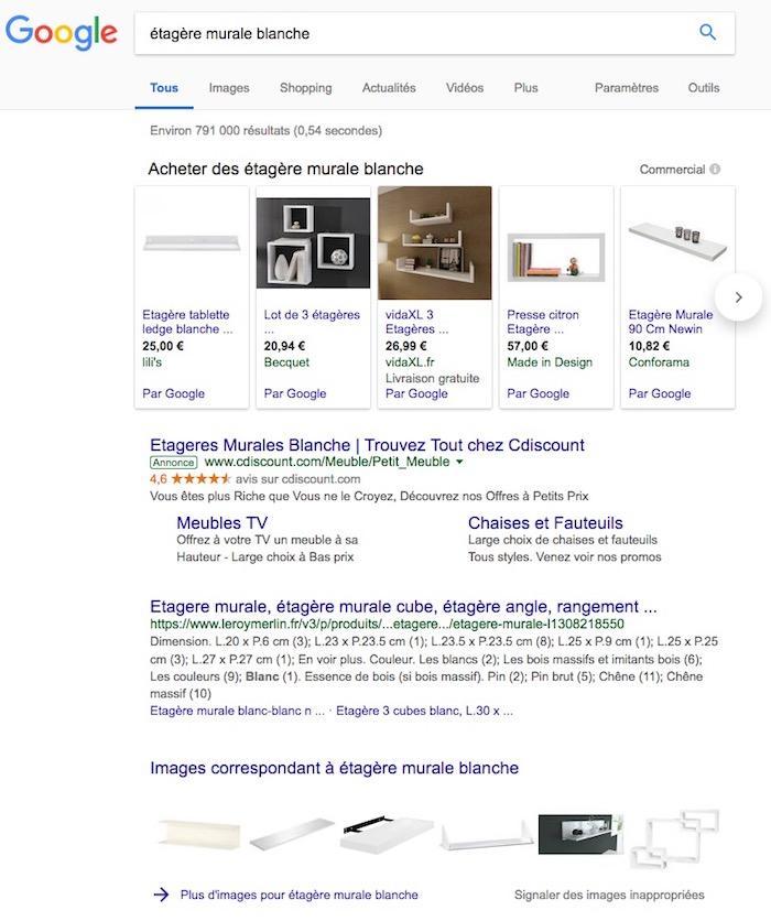 évolution des résultats google