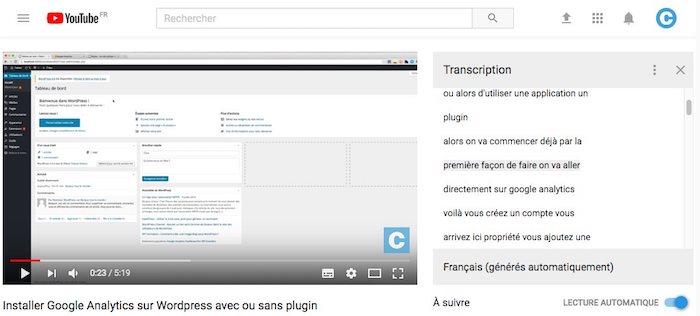 sous-titres automatiques youtube