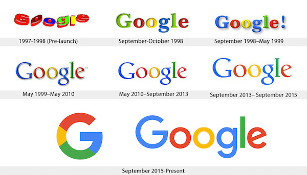 Evolution logo Google - Logo typographique