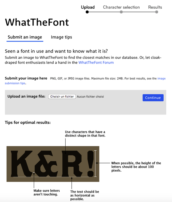 WhatTheFont typographie