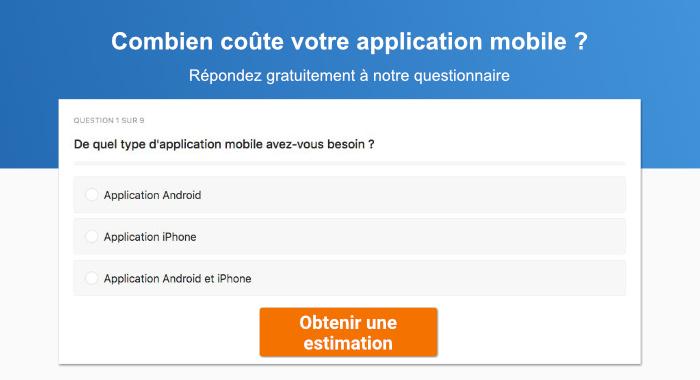 combien coûte une application mobile