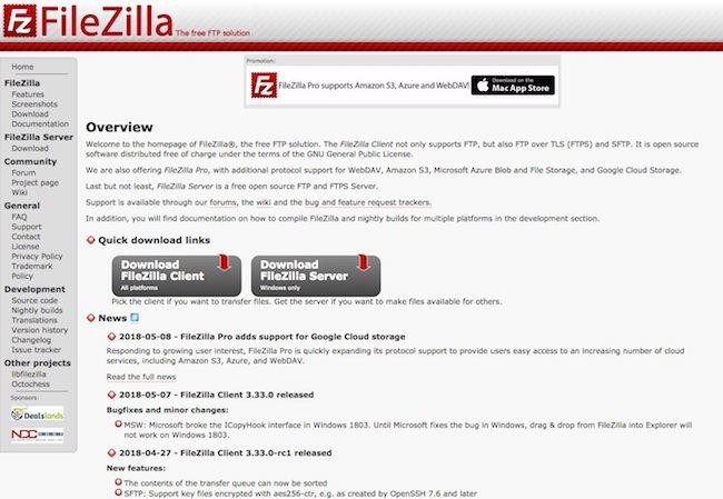 client ftp filezilla