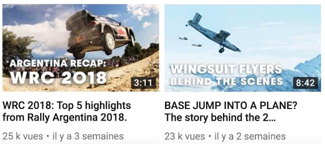 Miniatures vidéos Youtube RedBull