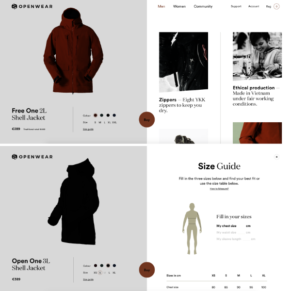 Site ecommerce splitscreen