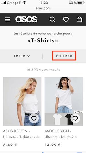 filtrage sur un site e-commerce