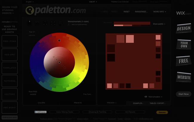 Palette couleurs monochromes nuances