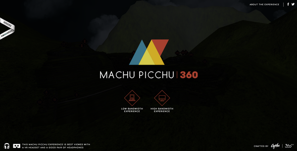Site interactif Machu Picchu realite virtuelle