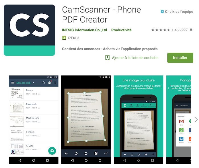 application pour scanner des documents