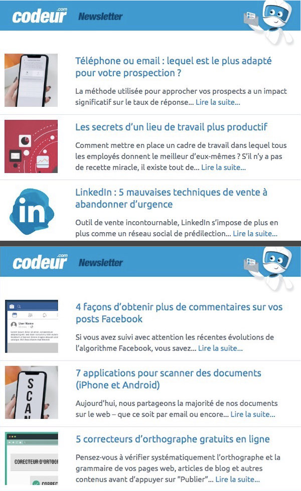 newsletter codeur