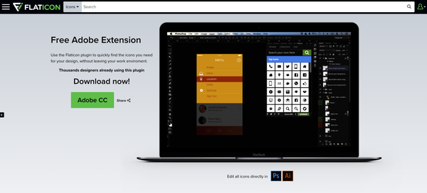 Extension Flaticon Photoshop