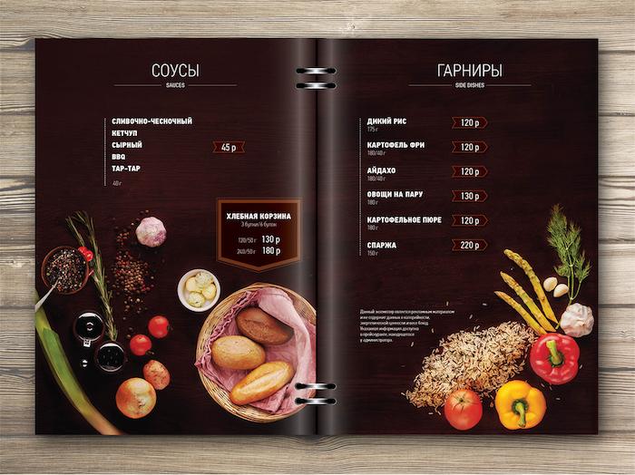 menu de restaurant esthétique