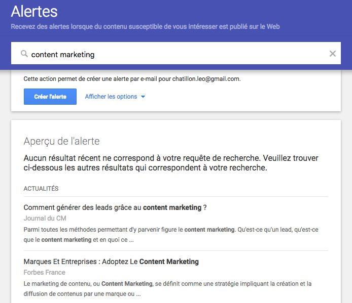 google alertes,, outil de curation de contenu