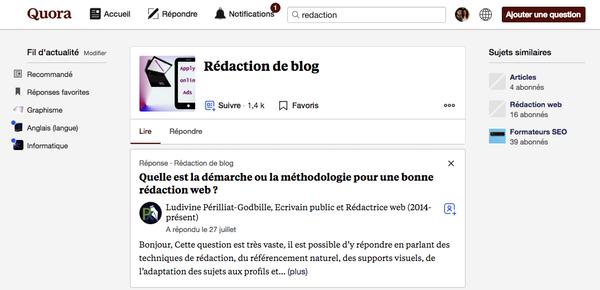 Promotion contenu sur Quora