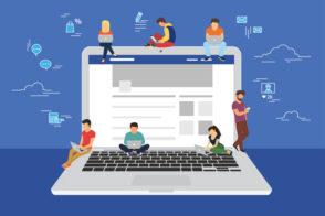 Social network web site surfing concept illustration