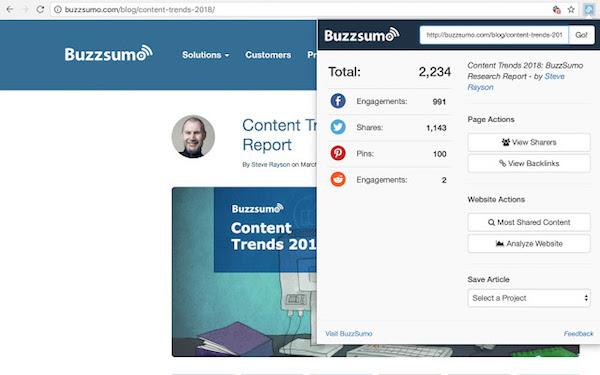 SEO extension gratuite BuzzSumo