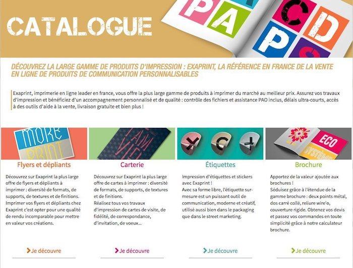catalogue d'une imprimerie en ligne