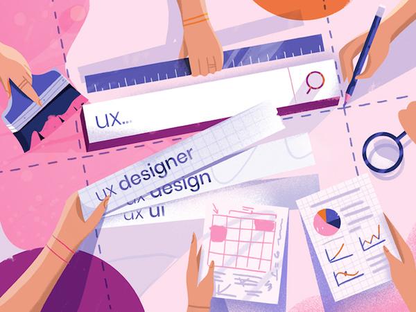 Flat illustration ux designer