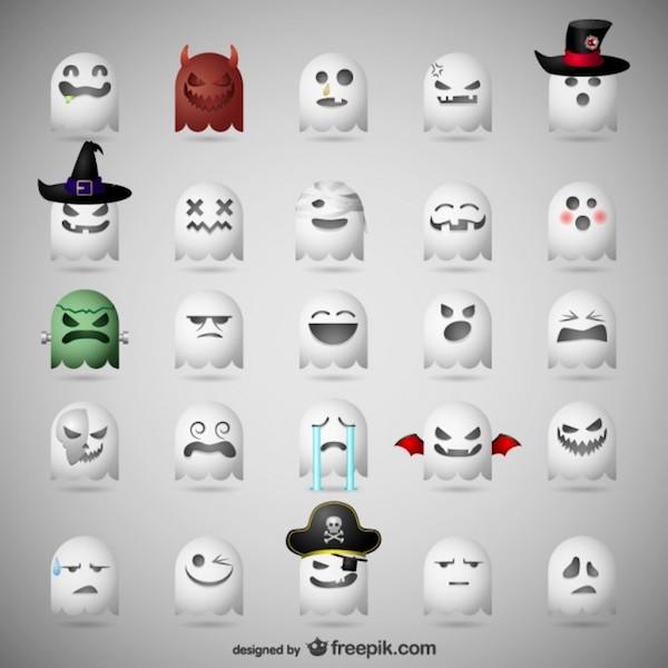 Ghost emoticons Halloween