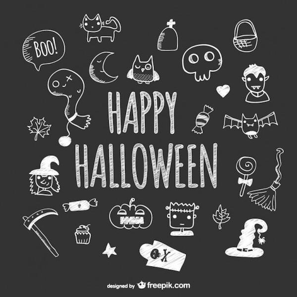 Icônes tableau noir Halloween