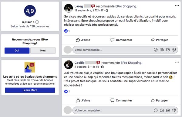 Avis clients ePro Shopping