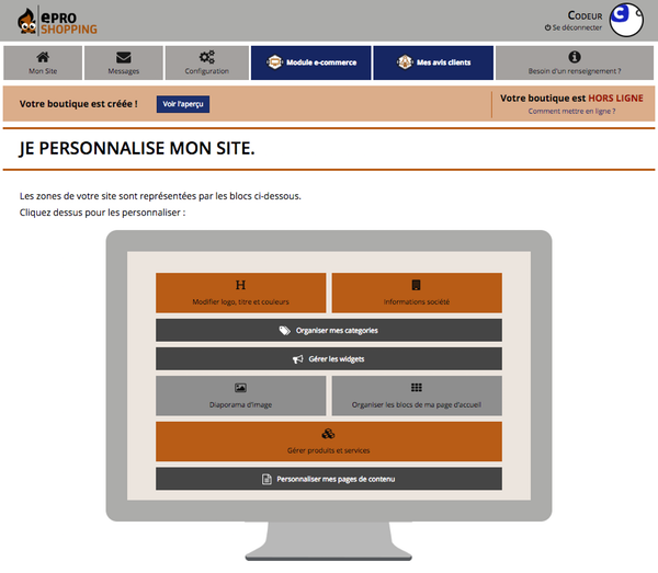 Interface d'administration sur ePro Shopping