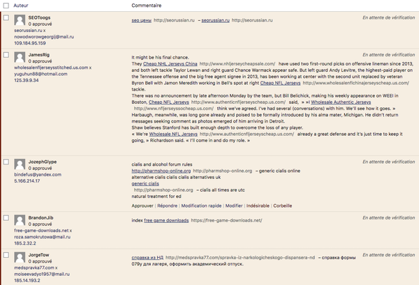 Commentaires spam WordPress