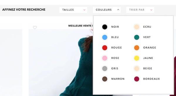 Filtre site e-commerce