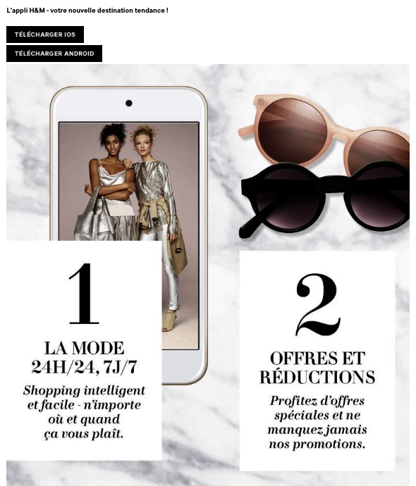 Réduction application mobile H&M