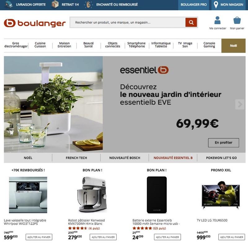 Page d'accueil site Boulanger