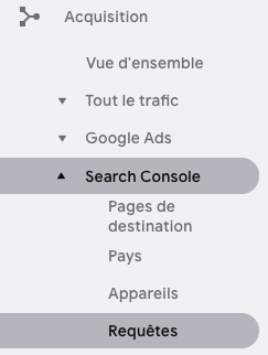 Requêtes Search Console