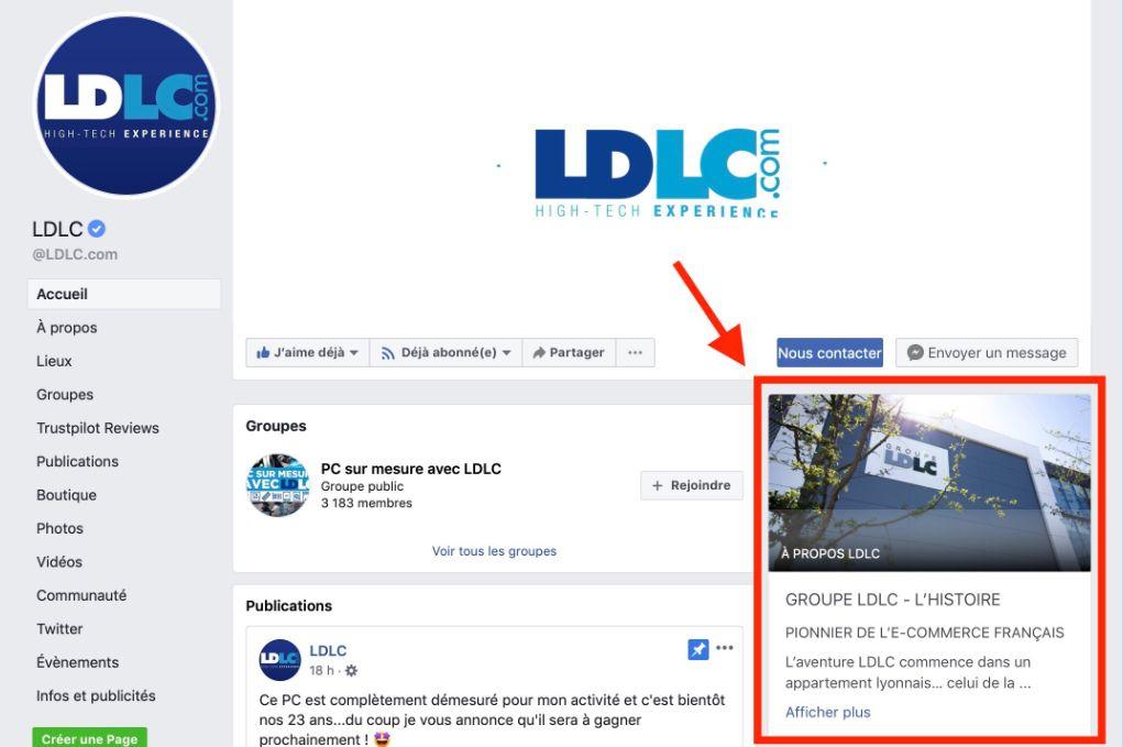 Exemple de la page LDLC sur Facebook