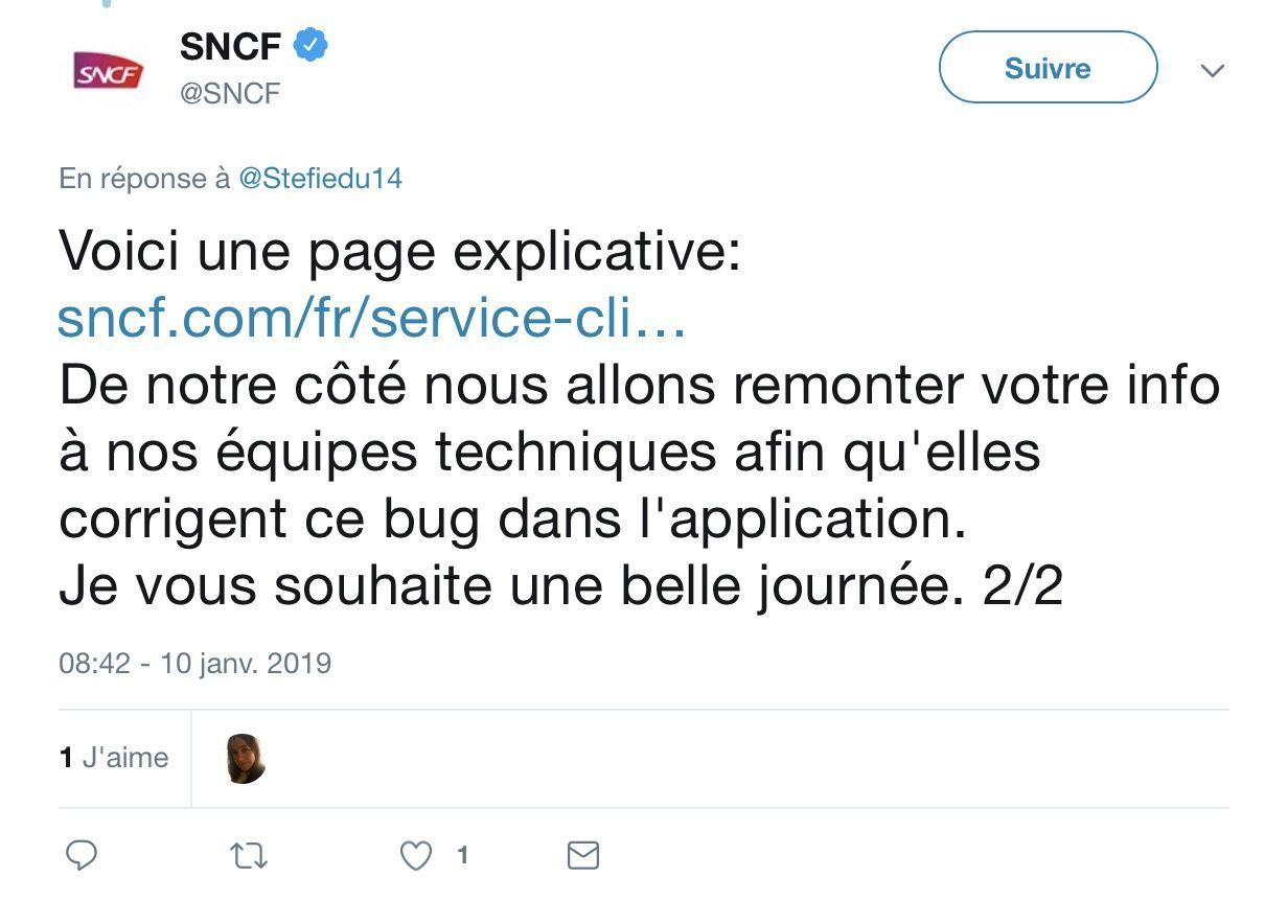 Réponse SNCF sur Twitter