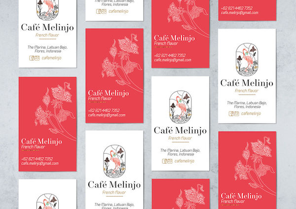 Carte de visite rouge café Melinjo