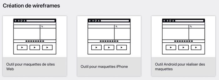 Outil LucidChart Wireframe