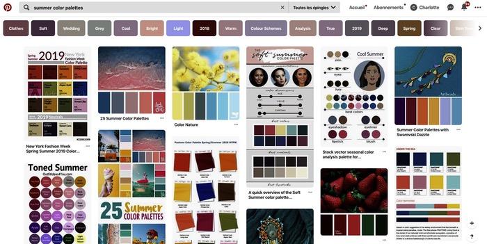 Palettes couleurs Pinterest