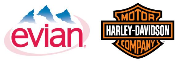 Typographie Evian et Harley Davidson